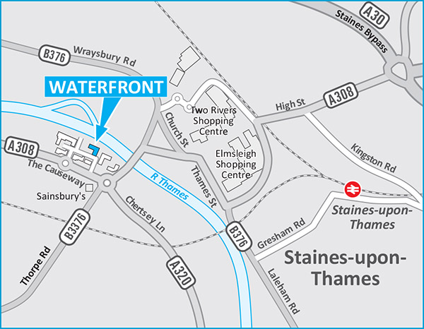 Waterfront Staines-upon-Thames TW18 3BA - UK map